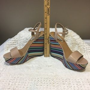 Steve Madden colorful wedges in nude size 7